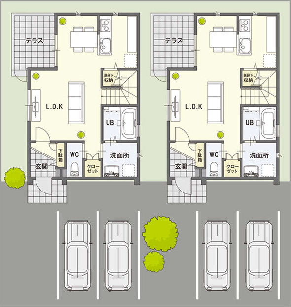 たとえば約60坪の敷地にカシータ2棟と駐車場4台分を配置した例